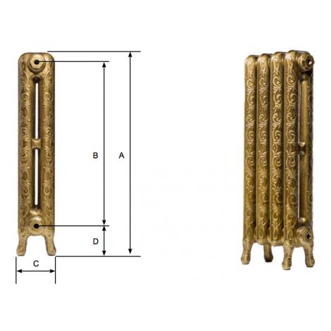 Чугунный радиатор Iron Lion Lotos 750, 1 секция